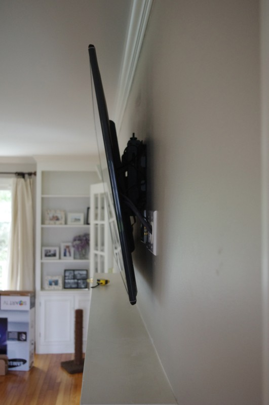 Tv Mounted over Fireplace in Maine, Side View