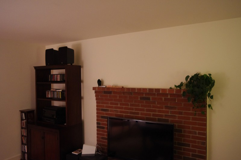 Before shot of TV mounting Service in Maine